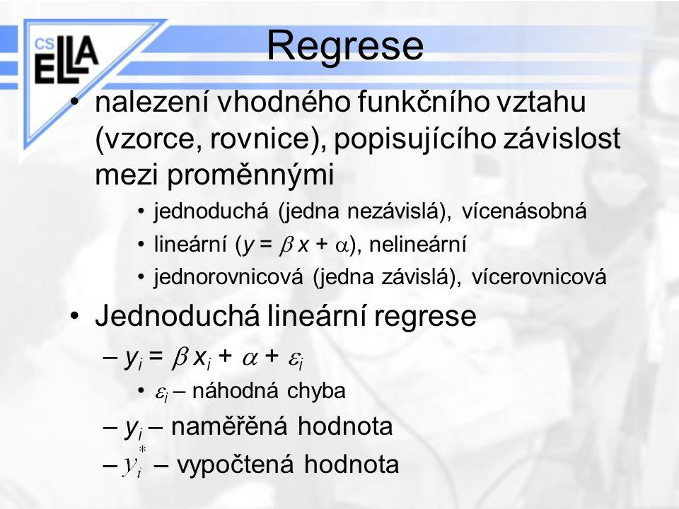 Regrese nalezení vhodného funkčního vztahu (vzorce, rovnice), popisujícího závislost mezi proměnnými.