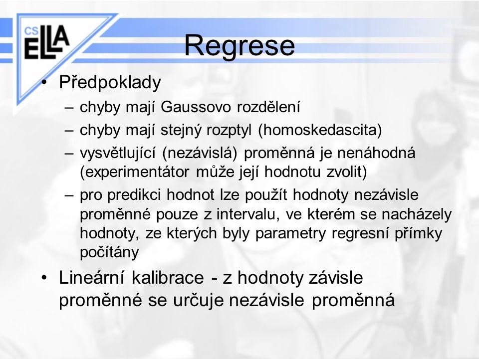 Regrese Předpoklady. chyby mají Gaussovo rozdělení. chyby mají stejný rozptyl (homoskedascita)