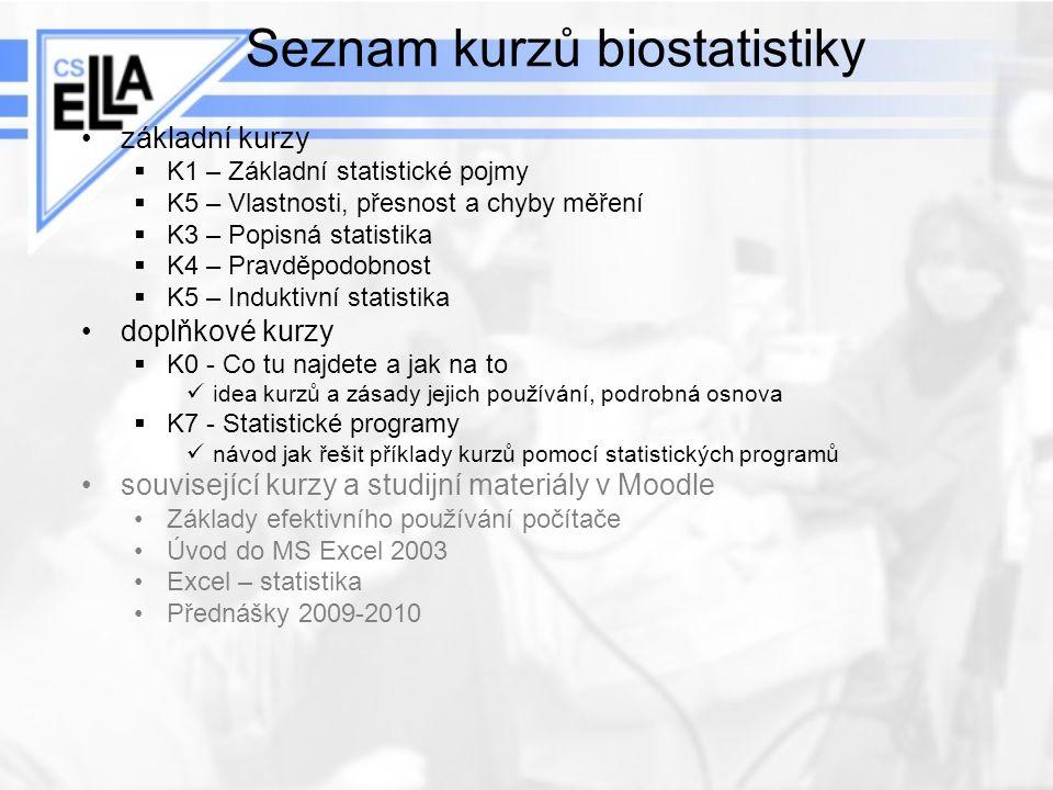 Seznam kurzů biostatistiky