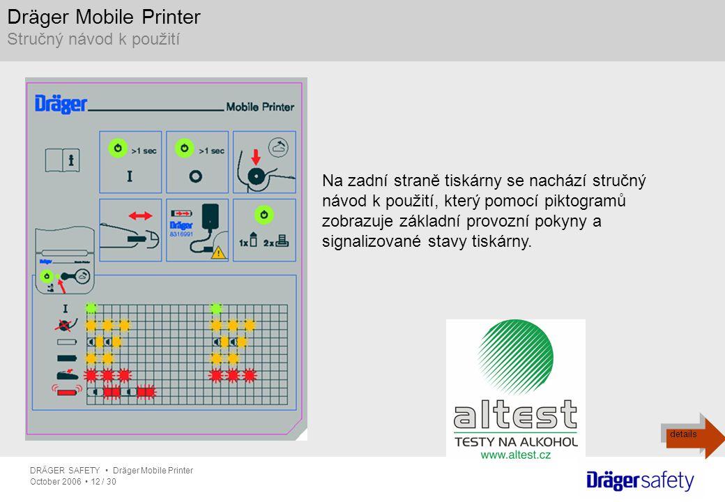 Dräger Mobile Printer Stručný návod k použití