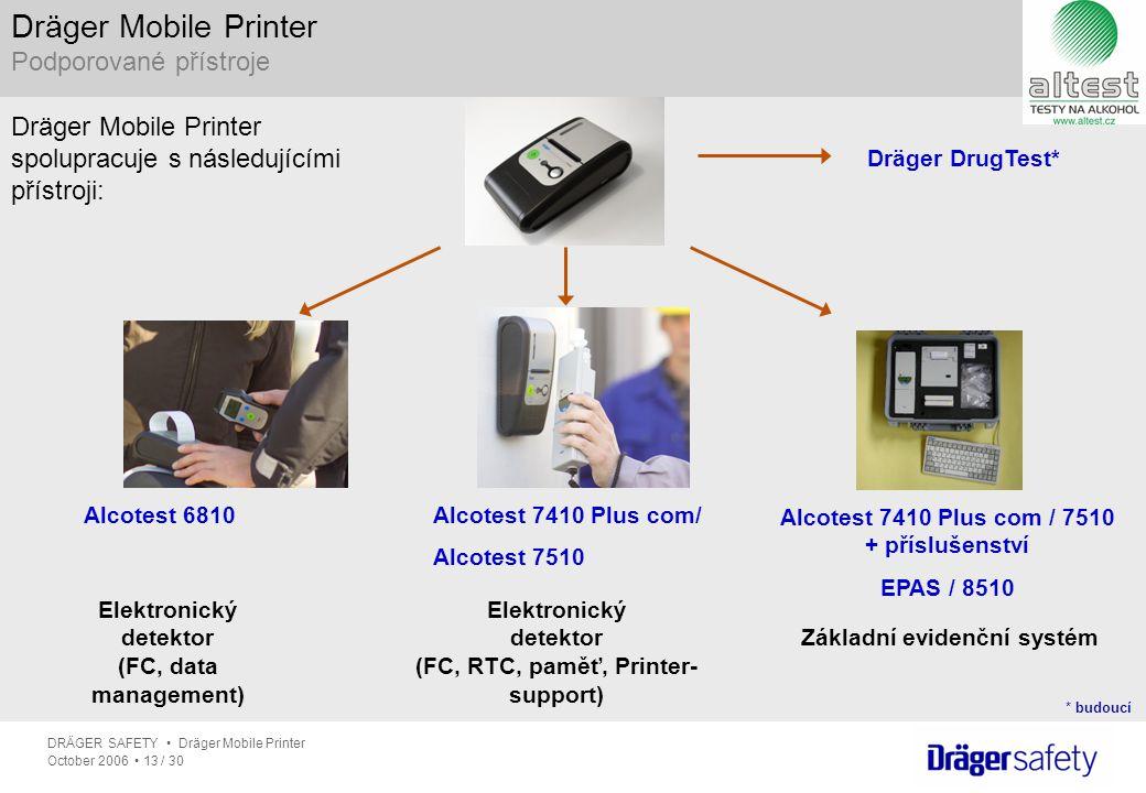 Dräger Mobile Printer Podporované přístroje