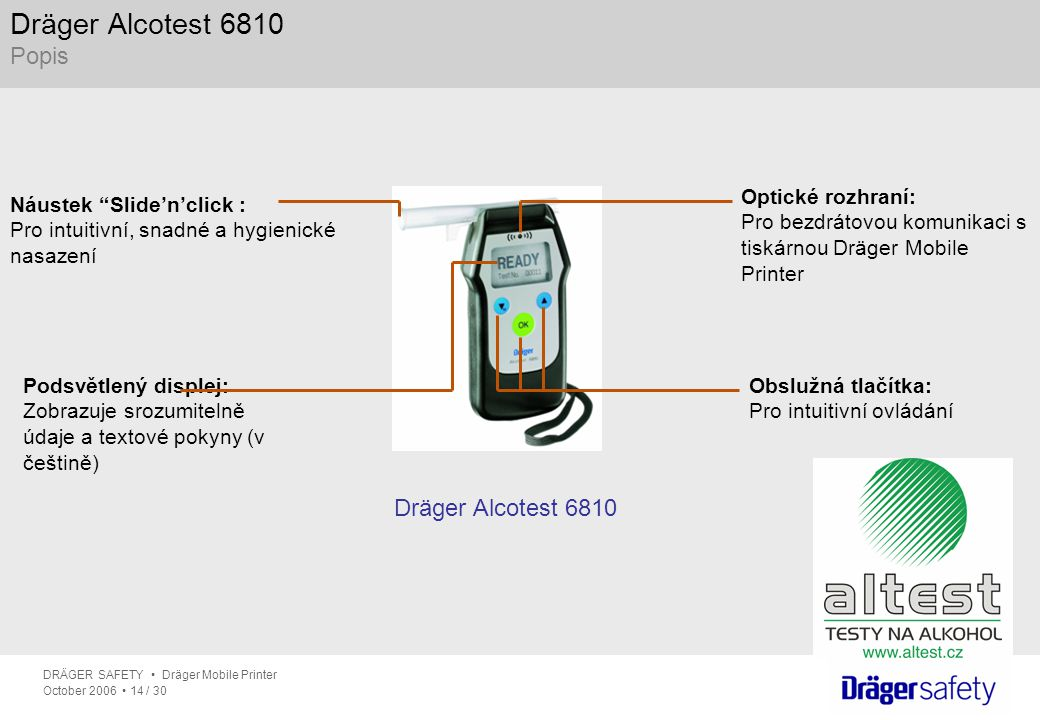 Dräger Alcotest 6810 Popis Dräger Alcotest 6810 Optické rozhraní: