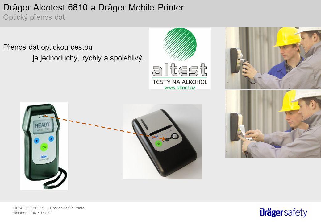Dräger Alcotest 6810 a Dräger Mobile Printer Optický přenos dat