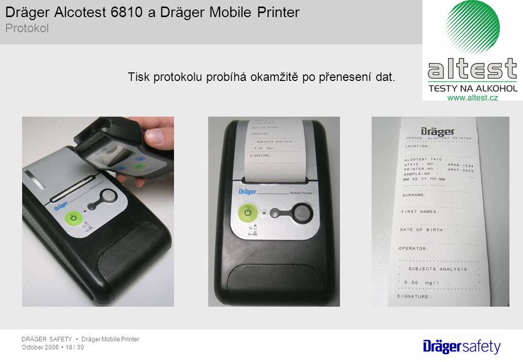 Dräger Alcotest 6810 a Dräger Mobile Printer Protokol