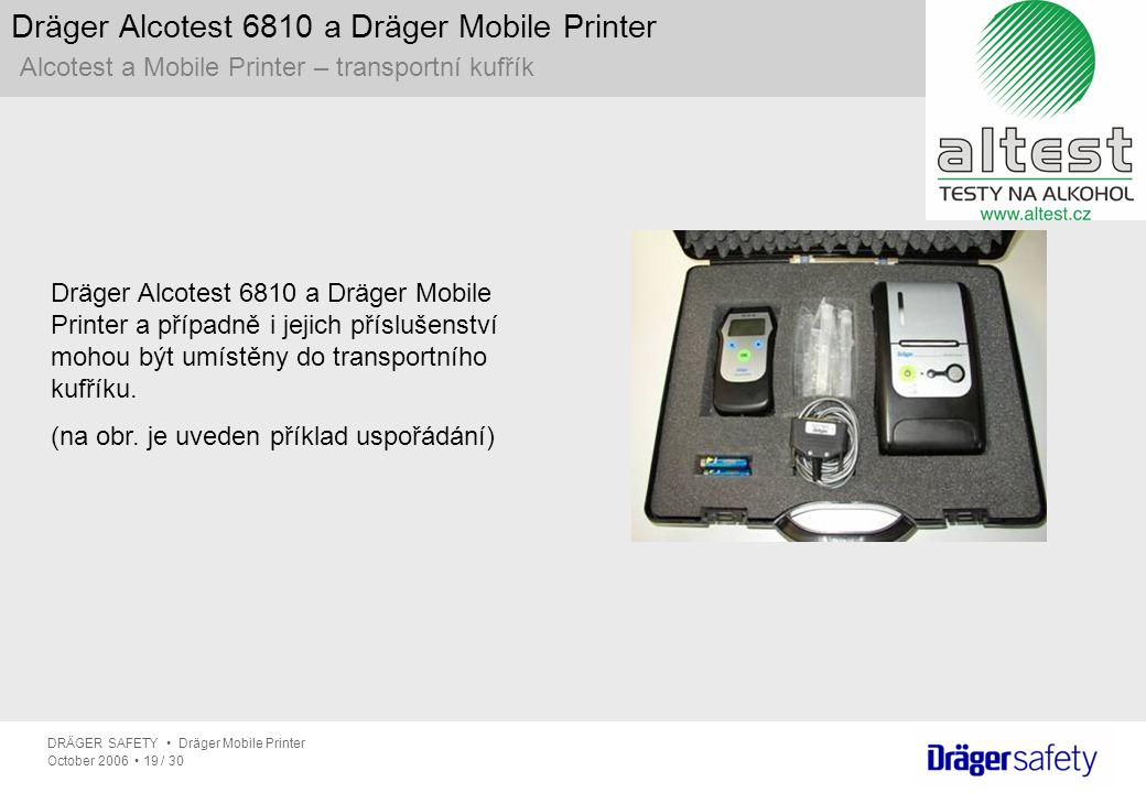 Dräger Alcotest 6810 a Dräger Mobile Printer Alcotest a Mobile Printer – transportní kufřík