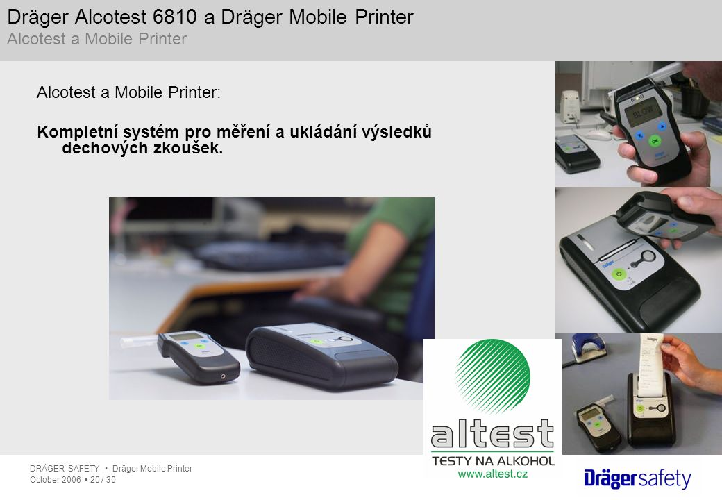 Dräger Alcotest 6810 a Dräger Mobile Printer Alcotest a Mobile Printer