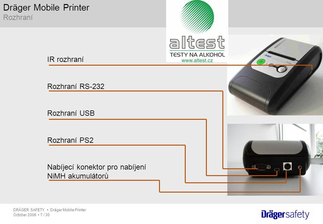 Dräger Mobile Printer Rozhraní