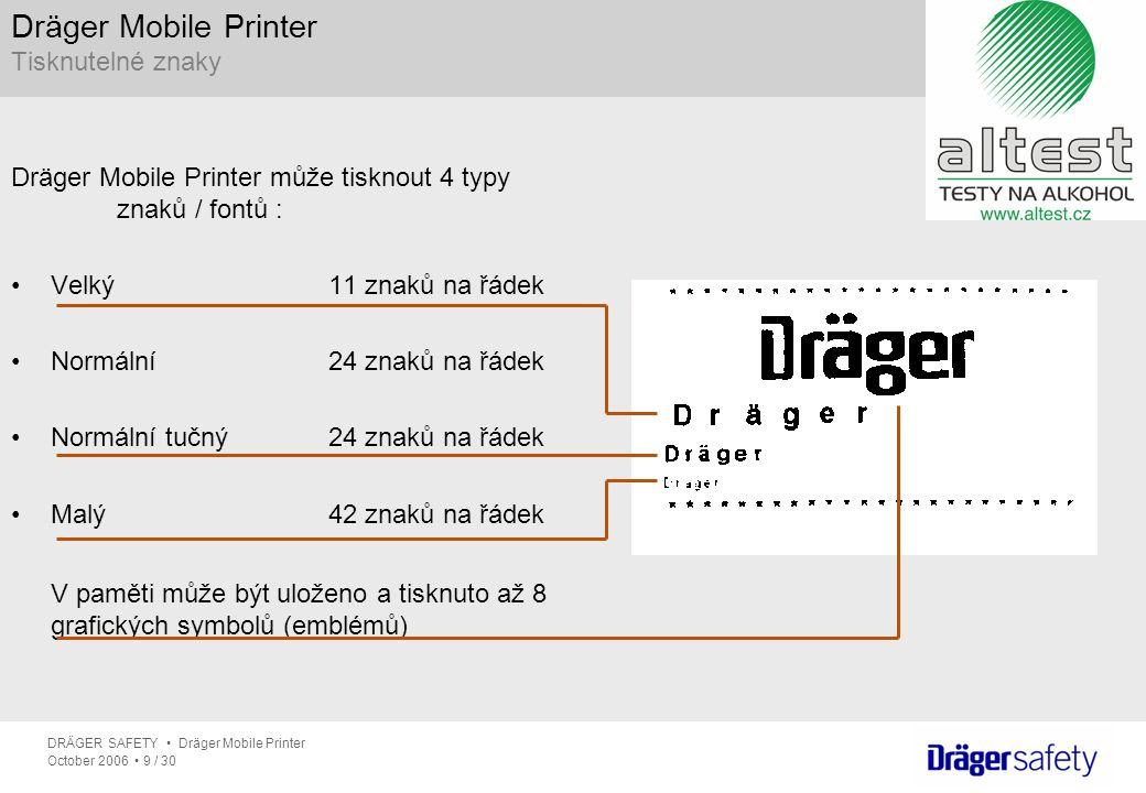 Dräger Mobile Printer Tisknutelné znaky