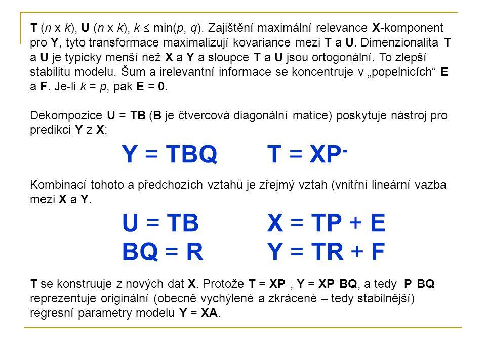Y = TBQ T = XP- U = TB BQ = R X = TP + E Y = TR + F