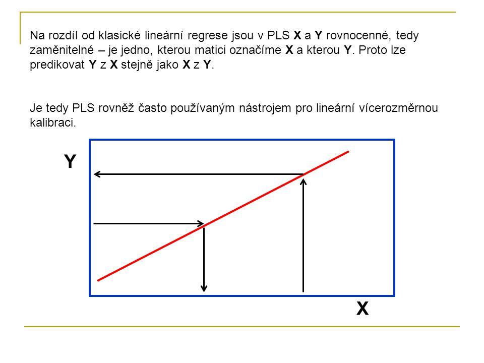Na rozdíl od klasické lineární regrese jsou v PLS X a Y rovnocenné, tedy zaměnitelné – je jedno, kterou matici označíme X a kterou Y. Proto lze predikovat Y z X stejně jako X z Y.