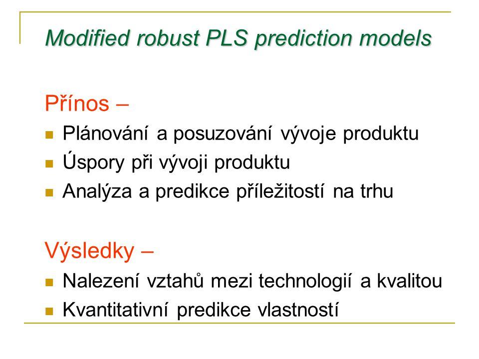Modified robust PLS prediction models Přínos –