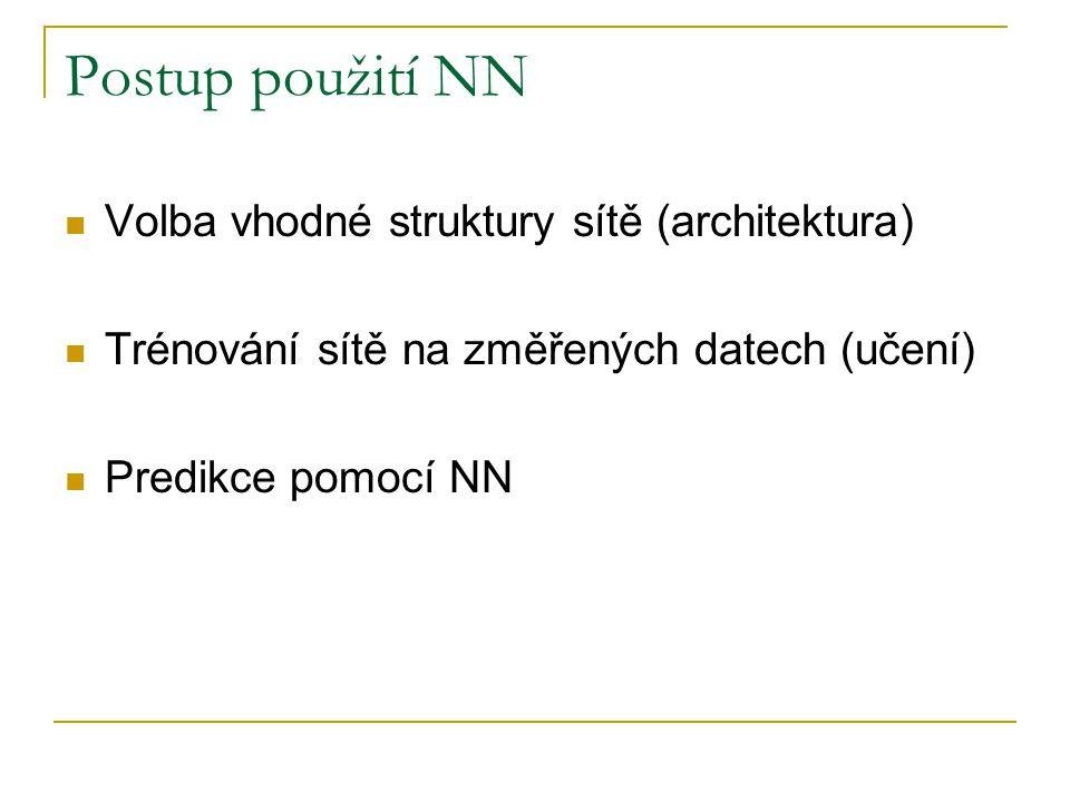 Postup použití NN Volba vhodné struktury sítě (architektura)