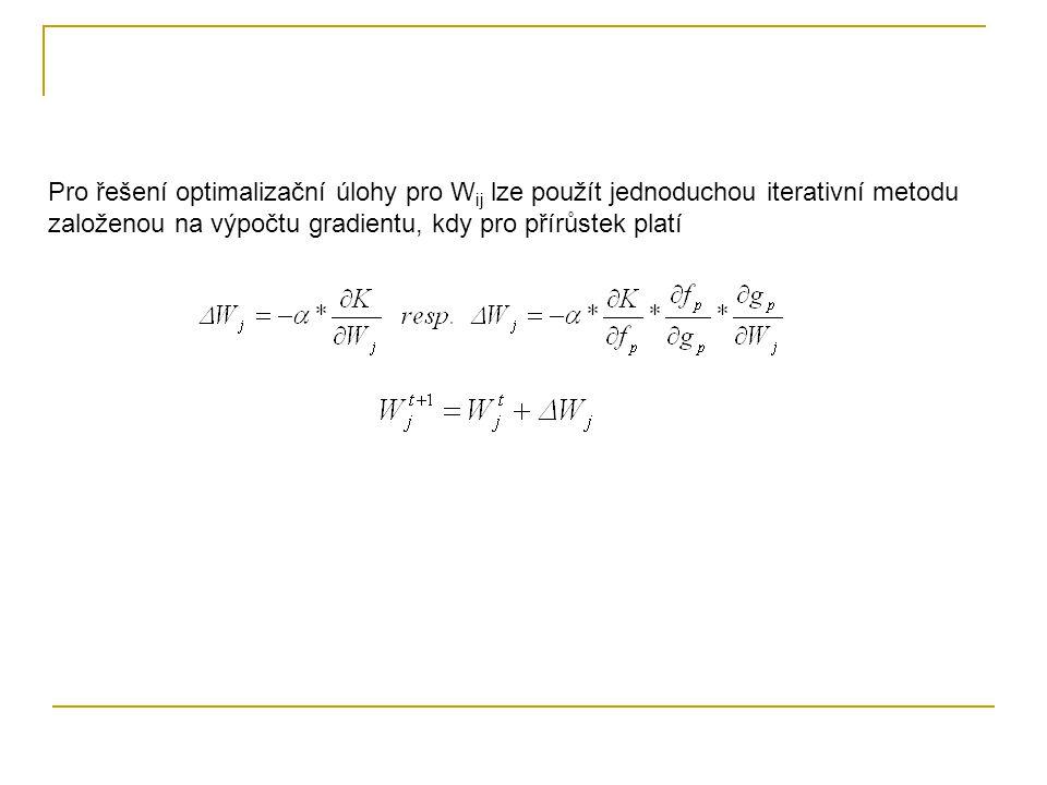 Pro řešení optimalizační úlohy pro Wij lze použít jednoduchou iterativní metodu