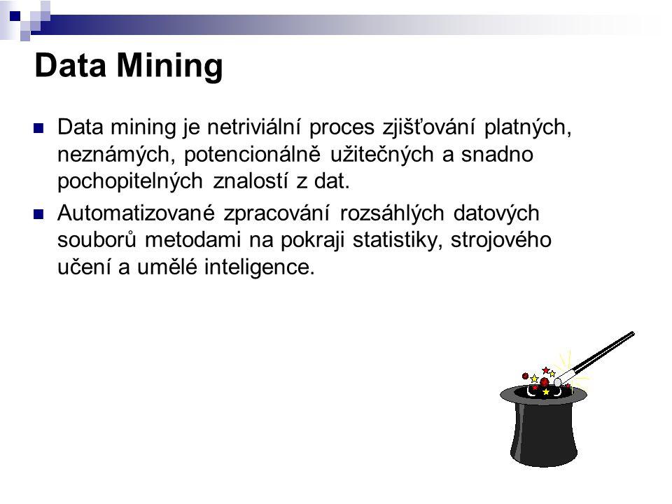 Data Mining Data mining je netriviální proces zjišťování platných, neznámých, potencionálně užitečných a snadno pochopitelných znalostí z dat.
