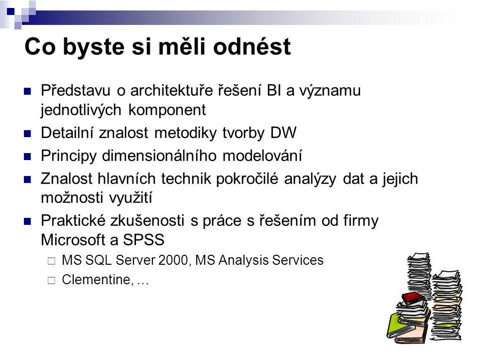 Co byste si měli odnést Představu o architektuře řešení BI a významu jednotlivých komponent. Detailní znalost metodiky tvorby DW.