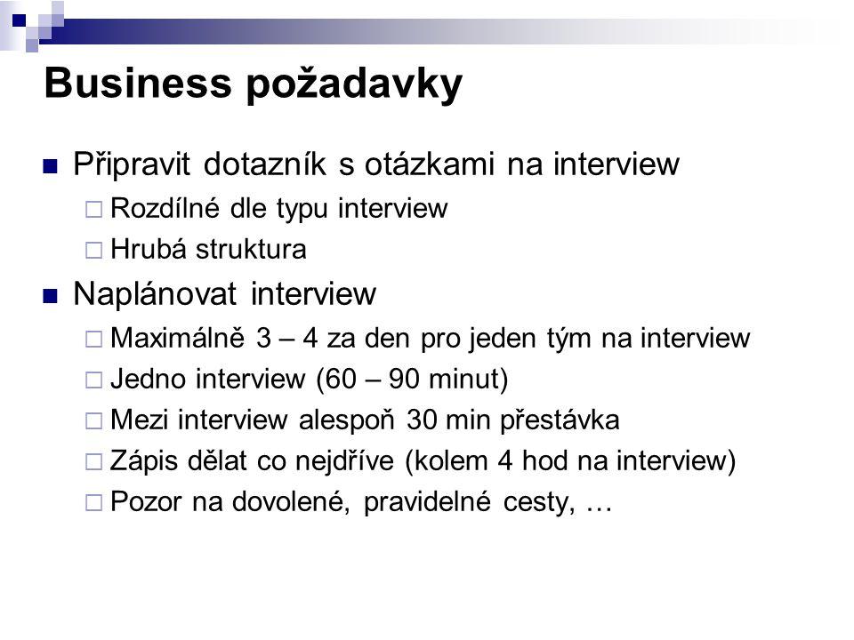 Business požadavky Připravit dotazník s otázkami na interview