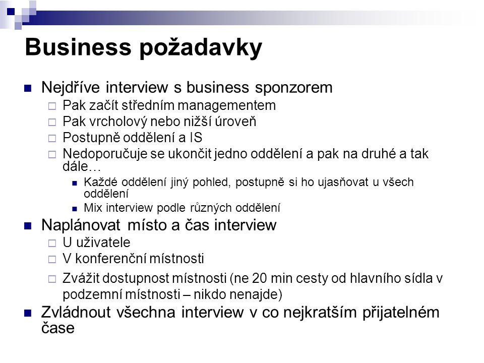 Business požadavky Nejdříve interview s business sponzorem