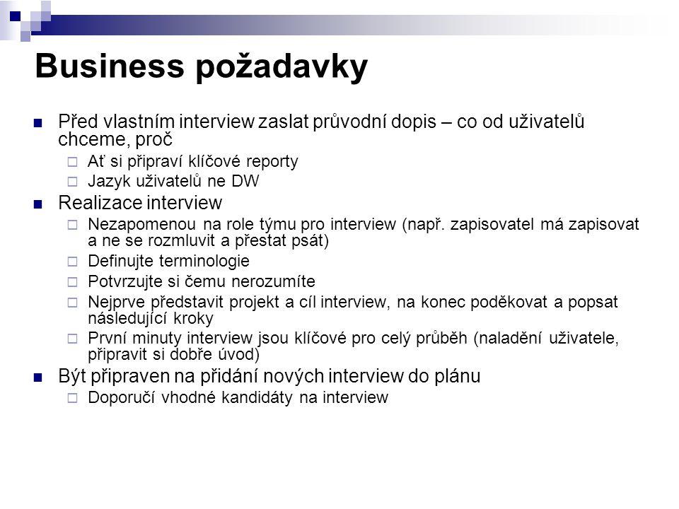 Business požadavky Před vlastním interview zaslat průvodní dopis – co od uživatelů chceme, proč. Ať si připraví klíčové reporty.