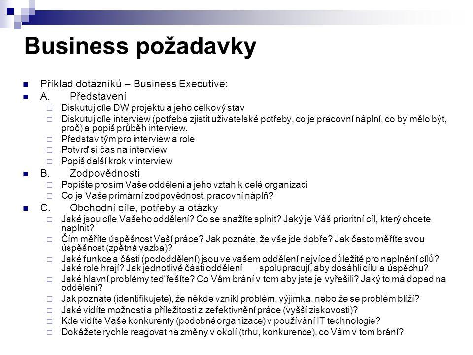Business požadavky Příklad dotazníků – Business Executive: