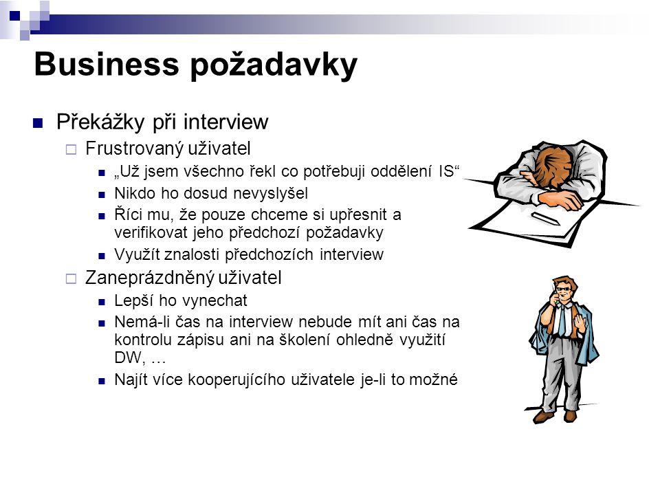 Business požadavky Překážky při interview Frustrovaný uživatel