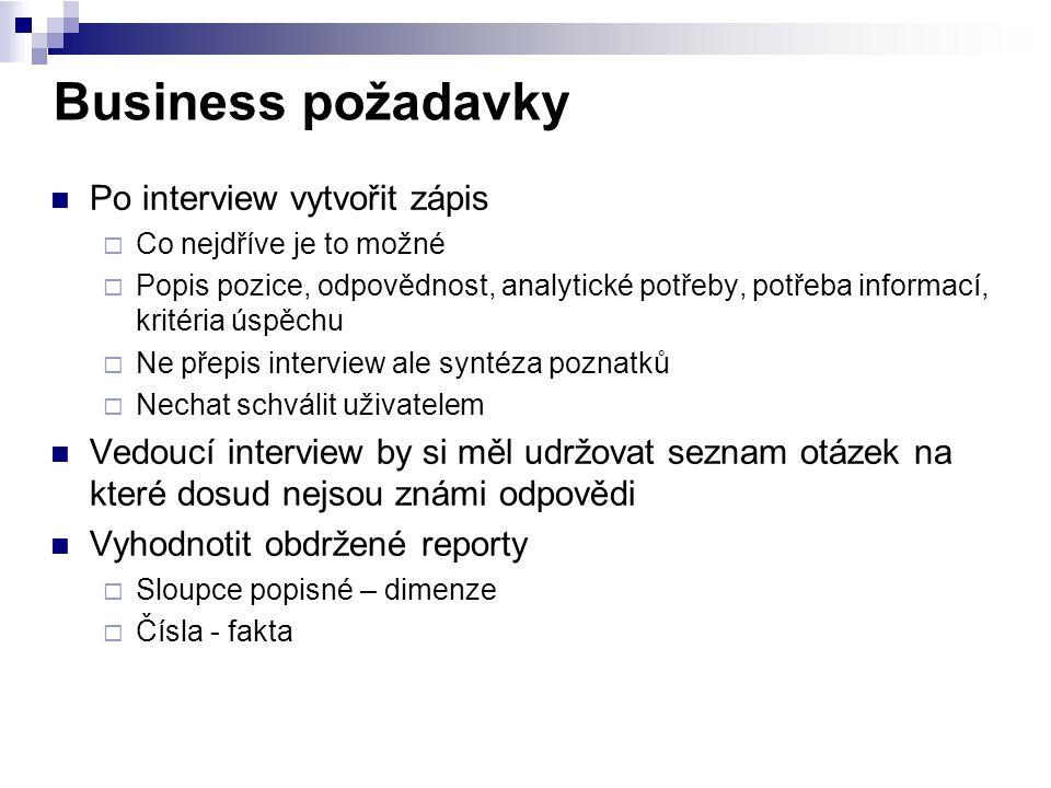 Business požadavky Po interview vytvořit zápis