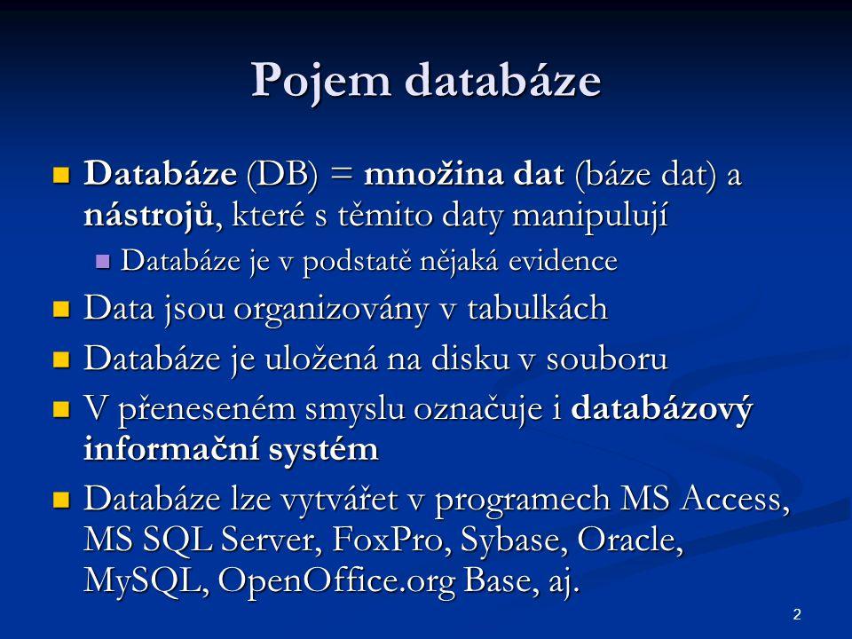 Pojem databáze Databáze (DB) = množina dat (báze dat) a nástrojů, které s těmito daty manipulují. Databáze je v podstatě nějaká evidence.