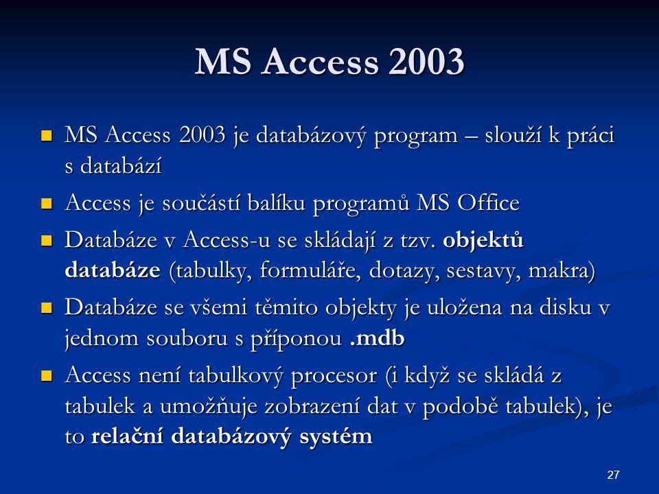 MS Access 2003 MS Access 2003 je databázový program – slouží k práci s databází. Access je součástí balíku programů MS Office.