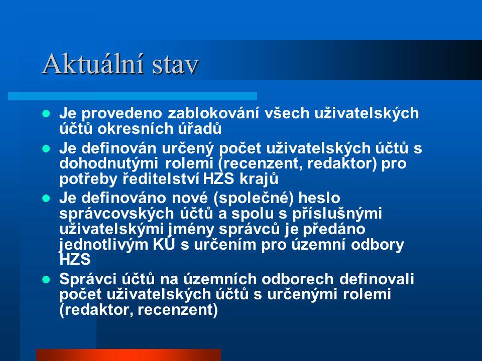 Aktuální stav Je provedeno zablokování všech uživatelských účtů okresních úřadů.