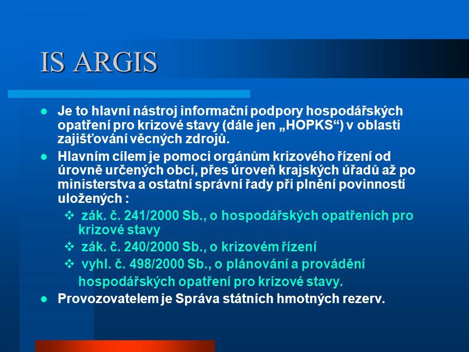 """IS ARGIS Je to hlavní nástroj informační podpory hospodářských opatření pro krizové stavy (dále jen """"HOPKS ) v oblasti zajišťování věcných zdrojů."""
