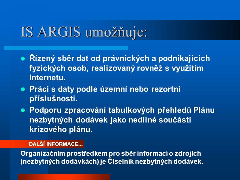 IS ARGIS umožňuje: Řízený sběr dat od právnických a podnikajících fyzických osob, realizovaný rovněž s využitím Internetu.