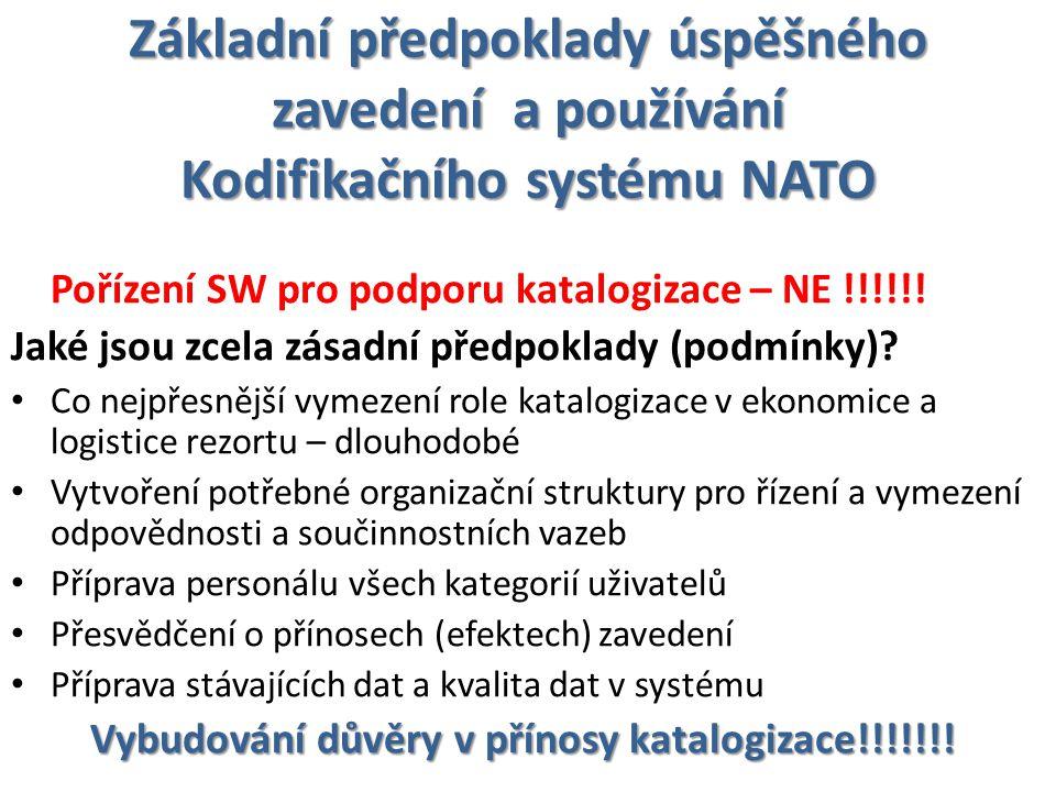 Základní předpoklady úspěšného zavedení a používání Kodifikačního systému NATO