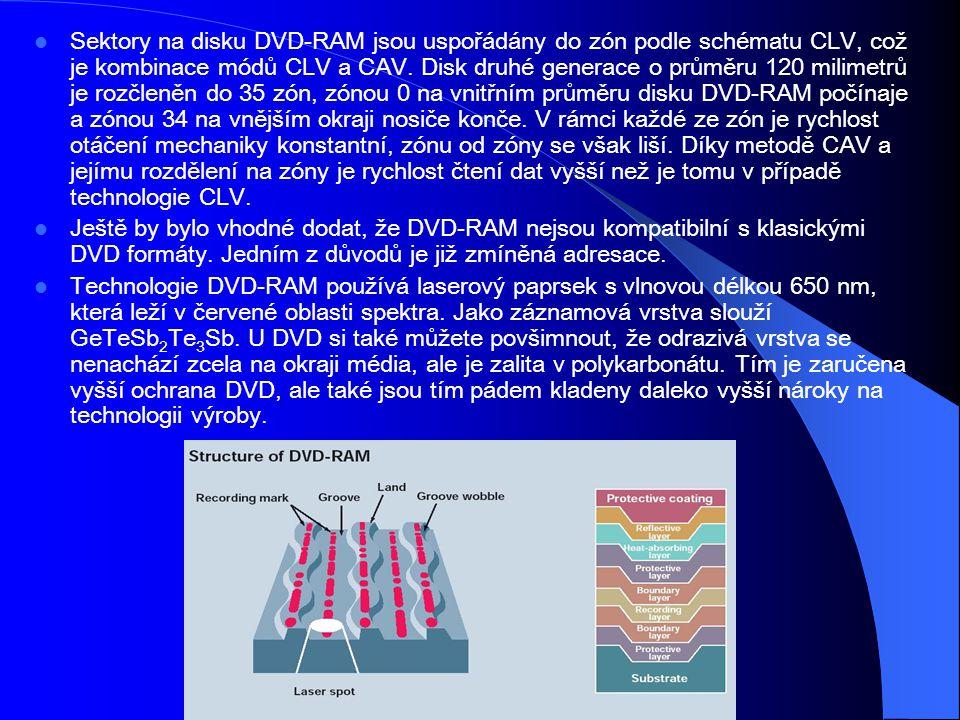 Sektory na disku DVD-RAM jsou uspořádány do zón podle schématu CLV, což je kombinace módů CLV a CAV. Disk druhé generace o průměru 120 milimetrů je rozčleněn do 35 zón, zónou 0 na vnitřním průměru disku DVD-RAM počínaje a zónou 34 na vnějším okraji nosiče konče. V rámci každé ze zón je rychlost otáčení mechaniky konstantní, zónu od zóny se však liší. Díky metodě CAV a jejímu rozdělení na zóny je rychlost čtení dat vyšší než je tomu v případě technologie CLV.