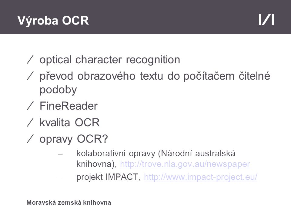 Výroba OCR optical character recognition