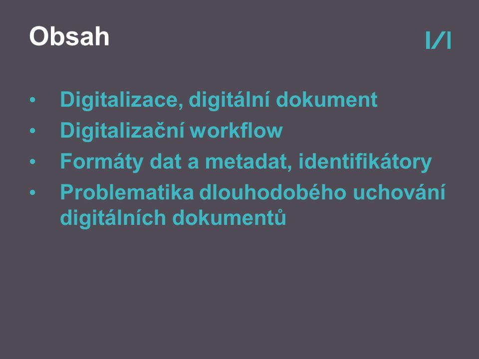 Obsah Digitalizace, digitální dokument Digitalizační workflow