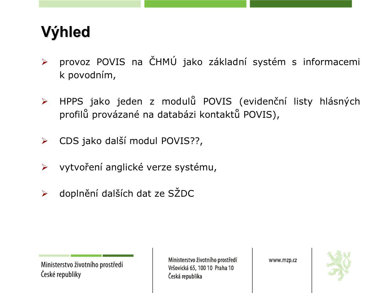 Výhled provoz POVIS na ČHMÚ jako základní systém s informacemi k povodním,