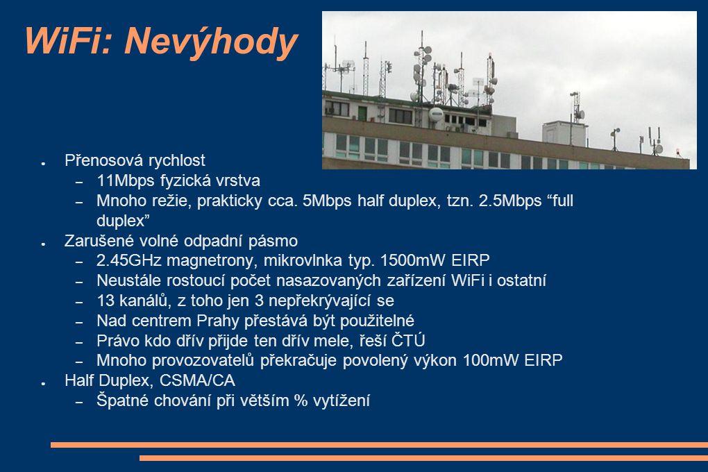 WiFi: Nevýhody Přenosová rychlost 11Mbps fyzická vrstva
