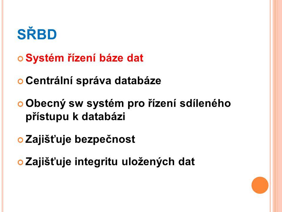 SŘBD Systém řízení báze dat Centrální správa databáze
