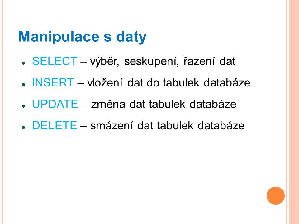 Manipulace s daty SELECT – výběr, seskupení, řazení dat