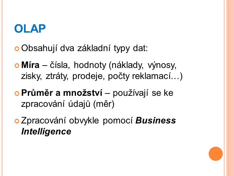 OLAP Obsahují dva základní typy dat: