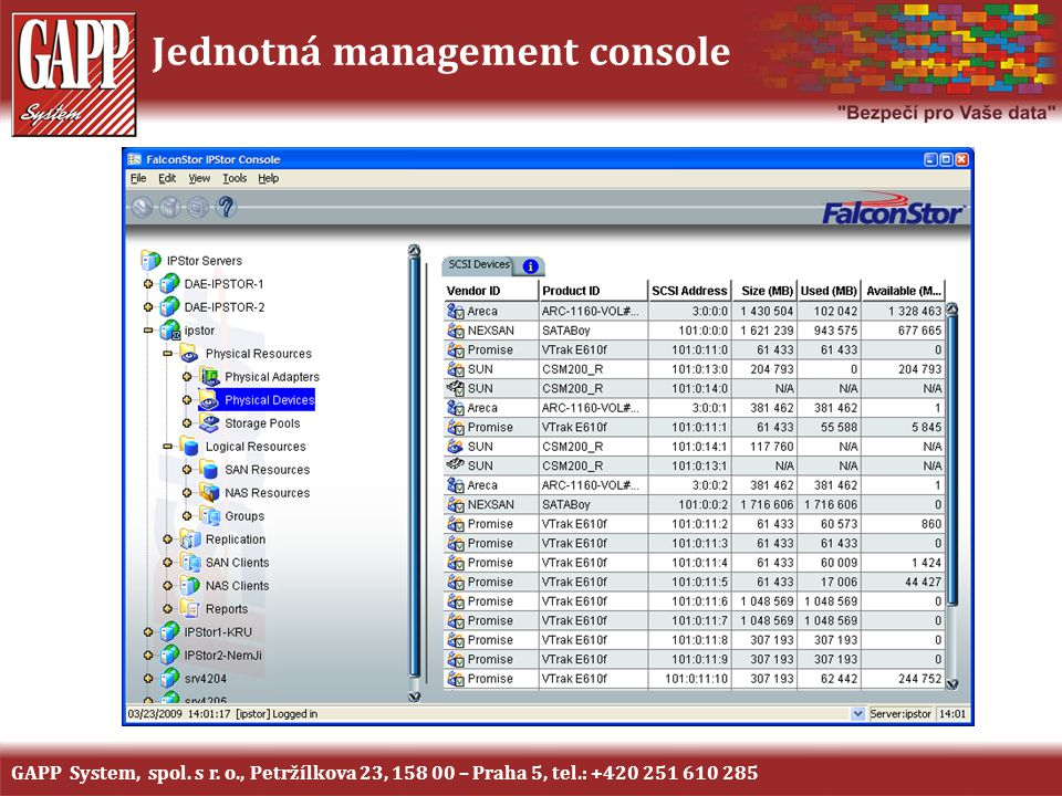 Jednotná management console