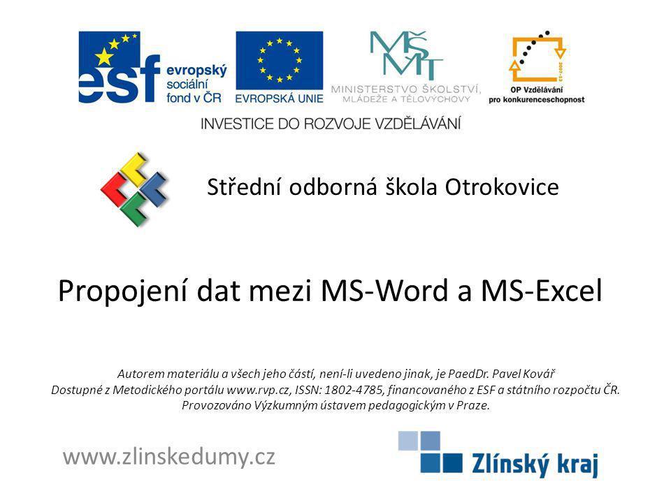 Propojení dat mezi MS-Word a MS-Excel
