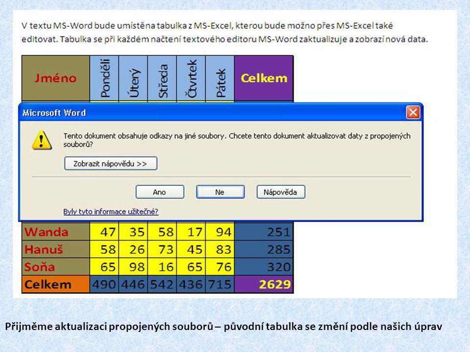 Přijměme aktualizaci propojených souborů – původní tabulka se změní podle našich úprav