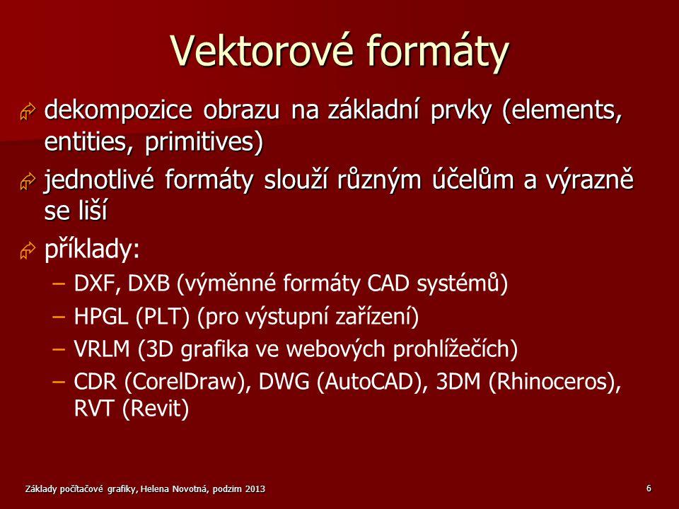 Vektorové formáty dekompozice obrazu na základní prvky (elements, entities, primitives) jednotlivé formáty slouží různým účelům a výrazně se liší.