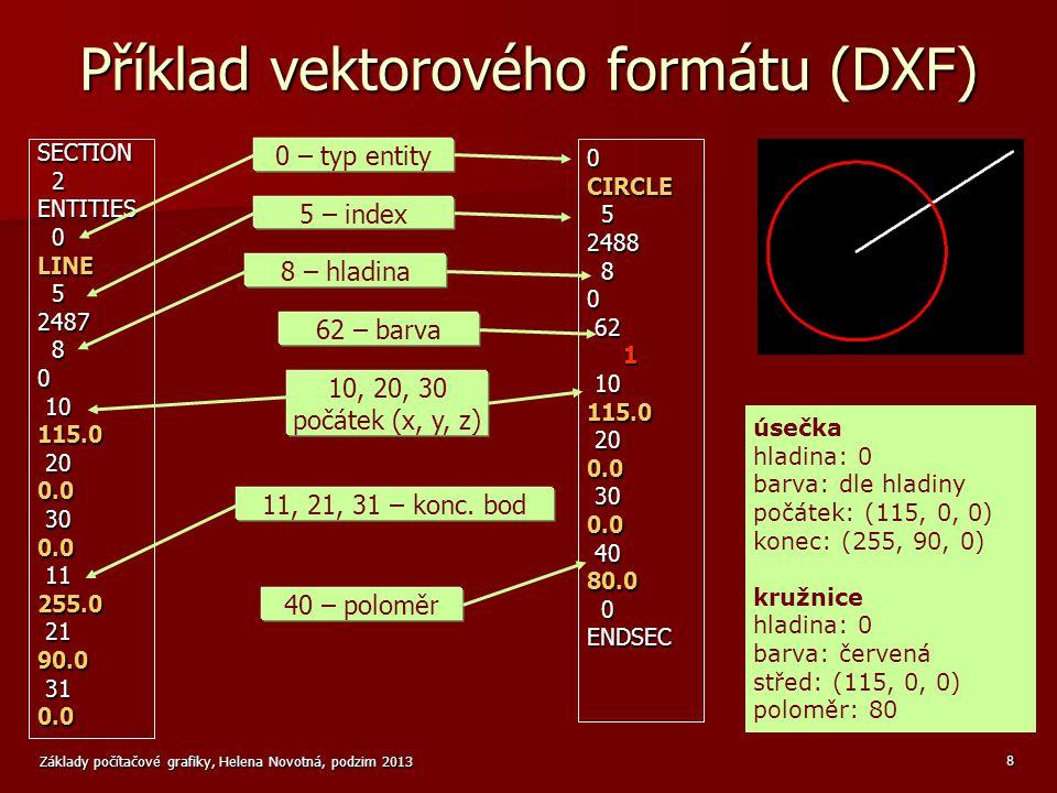 Příklad vektorového formátu (DXF)