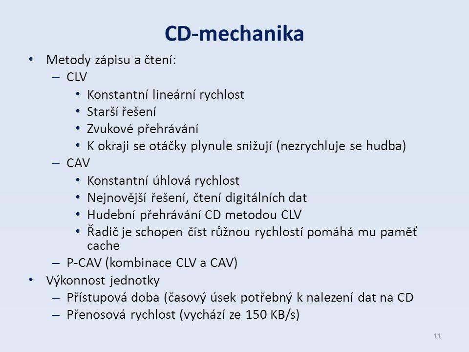 CD-mechanika Metody zápisu a čtení: CLV Konstantní lineární rychlost
