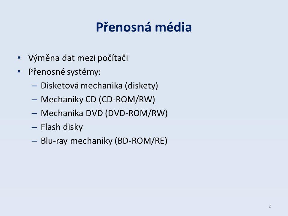 Přenosná média Výměna dat mezi počítači Přenosné systémy: