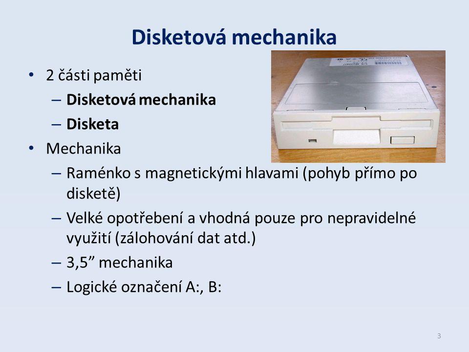 Disketová mechanika 2 části paměti Disketová mechanika Disketa