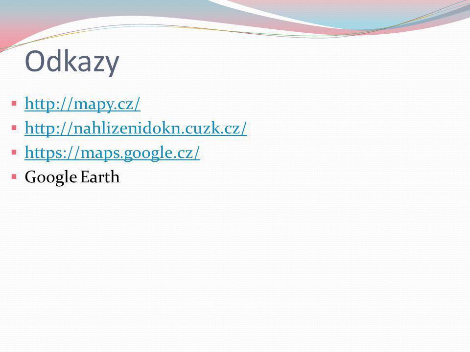 Odkazy http://mapy.cz/ http://nahlizenidokn.cuzk.cz/