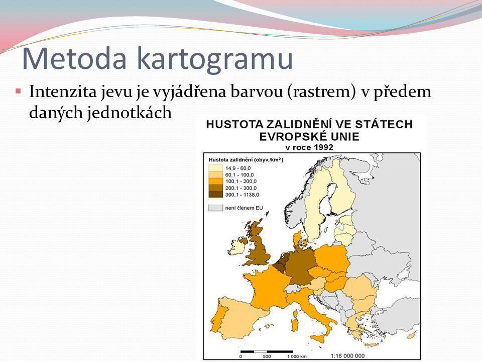 Metoda kartogramu Intenzita jevu je vyjádřena barvou (rastrem) v předem daných jednotkách