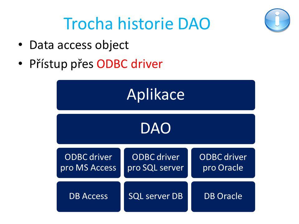 Trocha historie DAO Aplikace DAO Data access object